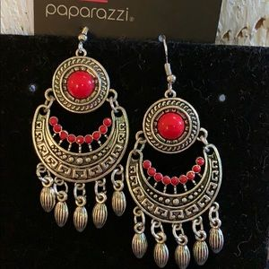 Red Tribal Earrings